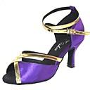 hesapli Latin Dans Ayakkabıları-Kadın's Saten Latin Dans Ayakkabıları Sandaletler Kişiye Özel Kişiselleştirilmiş Siyah / Mor / Donanma / İç Mekan