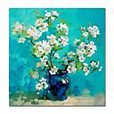 זול ציורי סגנון חיים-ציור שמן צבוע-Hang מצויר ביד - טבע דומם פרחוני / בוטני עכשווי מודרני בַּד