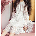 cheap Girls' Jackets & Coats-Girl's Daily Solid Dress, Cotton Polyester Spring Fall Long Sleeves Simple White