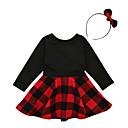 cheap Girls' Dresses-Girl's Going out School Solid Check Patchwork Dress, Cotton Spring Summer Long Sleeves Simple Vintage Black