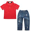 זול שמלות לבנות-סט של בגדים כותנה אביב קיץ שרוולים קצרים יומי ספורט אחיד בנים יום יומי סגנון רחוב אודם