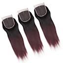 זול סגירה וחלק קדמי-ALIMICE שיער ברזיאלי 4x4 סגר ישר חלק חינם / חלק התיכון / 3 חלק תחרה שווייצרית שיער ראמי צבע בהדרגה
