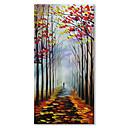 baratos Pinturas Abstratas-styledecor® pintados à mão colorido trilha árvore-alinhada paleta de pintura a óleo para decoração de casa-vertical 45 * 90 cm em lona embrulhada