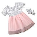 tanie Sukienki dla dziewczynek-Brzdąc Dla dziewczynek Na co dzień Impreza Patchwork Cekiny Krótki rękaw Sukienka / Bawełna / Urocza