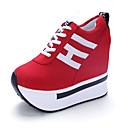 cheap Women's Sneakers-Women's Shoes Faux Leather Spring / Summer / Fall Comfort Sneakers Fitness & Cross Training Shoes / Walking Shoes Wedge Heel Lace-up Black / Red