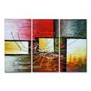 abordables Cuadros Abstractos-Pintura al óleo pintada a colgar Pintada a mano - Abstracto Contemporáneo Modern Incluir marco interior / Tres Paneles / Lona ajustada