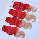 cheap Ombre Hair Weaves-4 Bundles Brazilian Hair Wavy Human Hair Ombre Hair Weaves / One Pack Solution / Human Hair Extensions Human Hair Weaves Silky / Ombre Hair Red Multi-color Human Hair Extensions Women's
