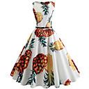 cheap Building Blocks-Women's Daily / Going out Vintage Slim Swing Dress - Fruit Pineapple, Print Spring Cotton White L XL XXL