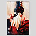 tanie Torby tote-Hang-Malowane obraz olejny Ręcznie malowane - Ludzie Nowoczesny Brezentowy / Rozciągnięte płótno