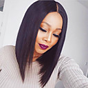 cheap Human Hair Wigs-Remy Human Hair Lace Front Wig Brazilian Hair Straight Wig Bob Haircut 130% With Baby Hair / Natural Hairline / African American Wig Women's Short / Mid Length Human Hair Lace Wig