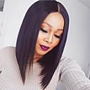 olcso Emberi hajból készült parókák-Remy haj Csipke eleje Paróka Brazil haj Egyenes Paróka Bob frizura 130% Baba hajjal / Természetes hajszálvonal / Afro-amerikai paróka Női Rövid / Közepes hosszúságú Emberi hajból készült parókák