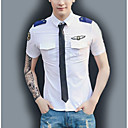 cheap Men's Watches-Men's Street chic Shirt - Solid Colored Cut Out / Short Sleeve