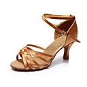 זול נעליים לטיניות-בגדי ריקוד נשים נעליים לטיניות סטן / דמוי עור סנדלים / עקבים שחבור עקב מותאם מותאם אישית נעלי ריקוד חום / בבית