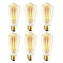 povoljno Zidni svijećnjaci-6 komada vintage edison žarulja, 40w st64 žarulja sa žarnom niti, jantarno toplo, 2200k, e26 / e27 srednje osnovno svjetlo starih žarulja