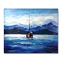 cheap Oil Paintings-STYLEDECOR Modern Hand Painted Abstract Blue Sea and Sailboat Oil Painting on Canvas for Wall Art