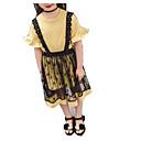 זול סטים של ביגוד לבנות-בנות יומי אחיד סט של בגדים, כותנה חוטי זהורית קיץ שרוולים קצרים בסיסי צהוב
