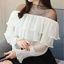 cheap Earrings-Women's Holiday / Work Street chic T-shirt - Color Block Lace Crew Neck / Spring / Summer / Ruffle