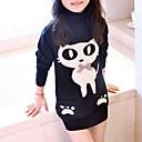 cheap Girls' Tops-Kids Girls' Cartoon Print Long Sleeve Rayon Blouse Black