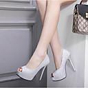 ieftine Tocuri de Damă-Pentru femei Pantofi PU Vară Balerini Basic Tocuri Toc Stilat Pantofi vârf deschis Paiete Negru / Argintiu