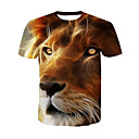 cheap Men's Necklaces-Men's Active T-shirt - Animal Lion, Print Round Neck / Short Sleeve