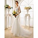 זול מתנות לחתונה-בתולת ים \ חצוצרה אשליה שובל קורט תחרה / טול שמלות חתונה מותאמות אישית עם אפליקציות / כפתורים על ידי LAN TING BRIDE®