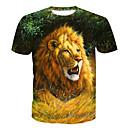 abordables Pelucas de Cabello Natural-Hombre Básico Estampado Camiseta, Escote Redondo Animal / Manga Corta