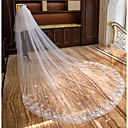cheap Wedding Shoes-Two-tier Lace Applique Edge Bridal Wedding Veil Chapel Veils Cathedral Veils 53 Petal Scattered Bead Floral Motif Style Splicing Lace