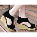 preiswerte Damen Sandalen-Damen Schuhe PU Sommer Komfort / Pumps Sandalen Keilabsatz Schwarz / Mandelfarben / Keilabsätze