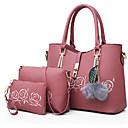 baratos Conjunto de Bolsas-Mulheres Bolsas PU Conjuntos de saco 3 Pcs Purse Set Penas / Pêlo Azul / Preto / Rosa