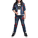 cheap Girls' Clothing Sets-Kids Girls' Cartoon Sports / School Embroidered Long Sleeve Short Cotton Jeans