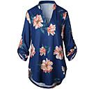 cheap Earrings-Women's Basic T-shirt - Floral Print V Neck