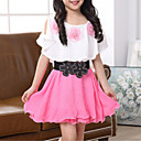 cheap Girls' Dresses-Girl's Daily Going out Floral Patchwork Dress, Polyester Summer Short Sleeves Street chic Fuchsia