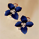 cheap Earrings-Women's Cubic Zirconia Stud Earrings - Flower Classic, Fashion Royal Blue For Party / Daily