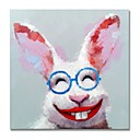 cheap Oil Paintings-STYLEDECOR Modern Hand Painted Abstract Squinting Rabbit Oil Painting on Canvas Wall Art