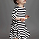 cheap Girls' Dresses-Girl's Daily Striped Dress, Rayon Spring Fall Long Sleeves Street chic White