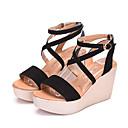 cheap Women's Sandals-Women's Shoes Suede Summer Comfort Sandals Wedge Heel Peep Toe Black / Coffee / Red