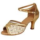 olcso Latin cipők-Női Latin cipők Csillogó flitter / Flitter / Bőrutánzat Magassarkúk Flitter / Csat Kubai sarok Személyre szabható Dance Shoes Arany
