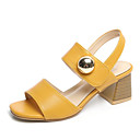 cheap Totes-Women's Shoes PU(Polyurethane) Summer Comfort Sandals Low Heel Round Toe Black / Beige / Yellow / Block Heel Sandals