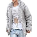 זול זנטאי (חליפות גוף)-צבע אחיד צווארון V אלגנטי ויוקרתי משרד / קריירה טקס שלב רשמי שנה חדשה רגיל מעיל פרווה בגדי ריקוד גברים, חורף לא זמין
