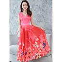 preiswerte Lolita Accessoires-Damen Übergrössen Street Schick Swing Kleid Blumen Maxi V-Ausschnitt Hohe Taillenlinie Rot