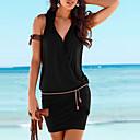 cheap Women's Heels-Women's Club / Beach Basic Slim Sheath Dress - Solid Colored Black, Ruched Mini V Neck / Summer