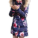 cheap Girls' Jackets & Coats-Girls' Floral Down & Cotton Padded, Polyester Winter All Seasons Long Sleeves Dresswear Blushing Pink Navy Blue