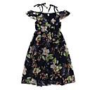 זול שמלות לבנות-שמלה כותנה פוליאסטר קיץ ללא שרוולים יומי חגים אחיד פרחוני הילדה של פעיל בוהו כחול נייבי