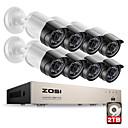 olcso DVR készlet-zosi® hd-tvi 8ch 1080p 2.0mp-es biztonsági kamerák rendszer 8 * 1080p 2000tvl nappali éjszaka cctv otthoni biztonsági 2tb hdd
