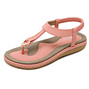 cheap Women's Sandals-Women's Shoes Synthetic Microfiber PU Spring / Summer Novelty Sandals Flat Heel Round Toe Rivet Blue / Pink / Almond