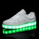 cheap Women's Boots-Women's Shoes PU Spring Fall Comfort Sneakers Flat Heel Round Toe Lace-up LED For Casual White Black