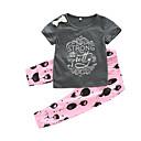 tanie Zestawy ubrań dla dziewczynek-Dziecko Dla dziewczynek Casual Codzienny Nadruk Krótki rękaw Bawełna Komplet odzieży Szary 90