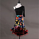 cheap Latin Dance Wear-Latin Dance Dresses Women's Performance Spandex Organza Pattern / Print Cascading Ruffles Half Sleeves Sleeveless Dress