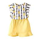 tanie Zestawy ubrań dla dziewczynek-Brzdąc Dla dziewczynek Podstawowy Codzienny Nadruk Bez rękawów Regularny Bawełna / Poliester Komplet odzieży Żółty 100