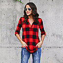 baratos Sandálias Femininas-Mulheres Camisa Social - Feriado Moda de Rua Estampa Colorida / Quadriculada Algodão Colarinho de Camisa Solto / Primavera / Outono / Sexy